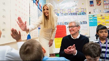 Ivanka Trump and Apple CEO Tim Cook visit Wilder Elementary School