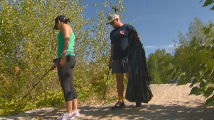 Volunteers help clean up along the Boise River