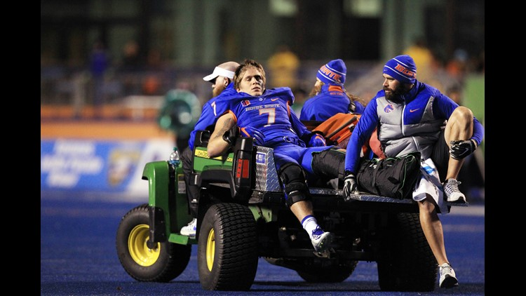 Nov 18, 2016; Boise, ID, USA; Boise State Broncos linebacker Joe Martarano (7) is carted off the field after suffering a lower leg injury against the UNLV Rebels in the first half at Albertsons Stadium. Mandatory Credit: Brian Losness-USA TODAY Sports
