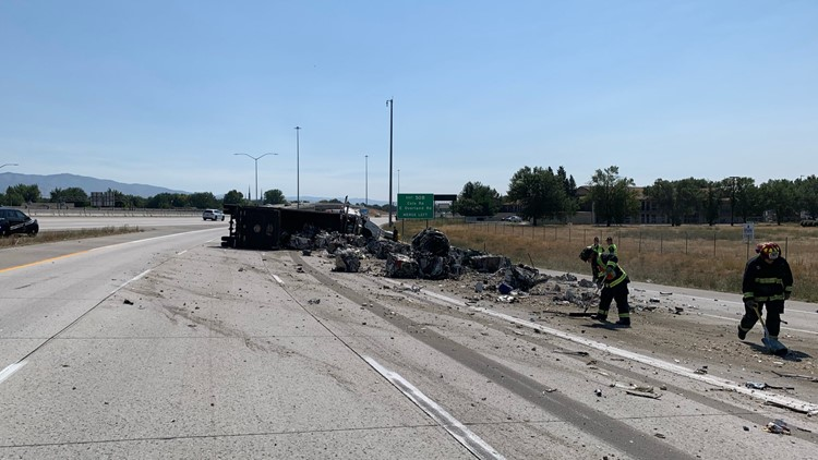 Recycling truck crash leaves mess on I-84 near Flying Wye
