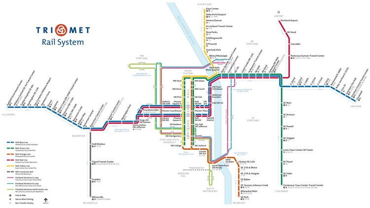 Trimet Portland rail Map