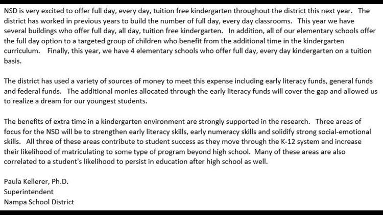 Nampa School District full-day kindergarten full statement