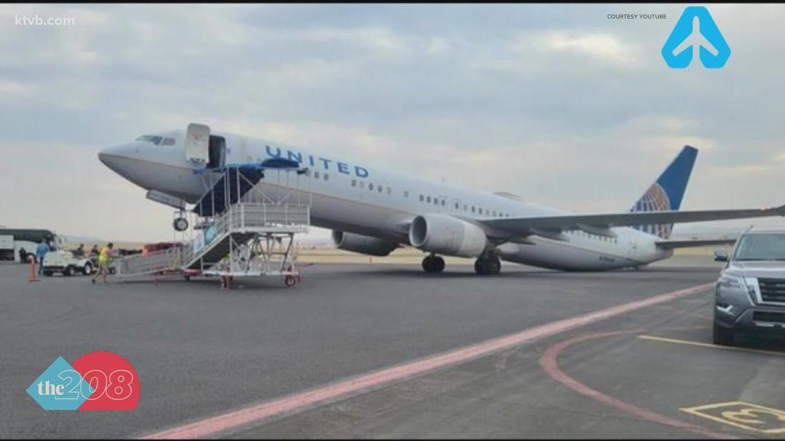 Airplane tips backward at Lewiston airport