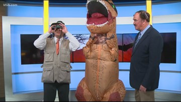 KTVB anchor Maggie O'Mara dances in a dinosaur costume on TV