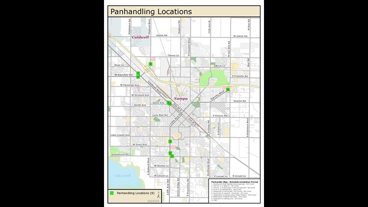 Map of Nampa panhandling signs