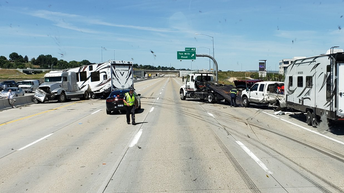 Westbound I-84 reopened after a 5-vehicle crash sends two people to