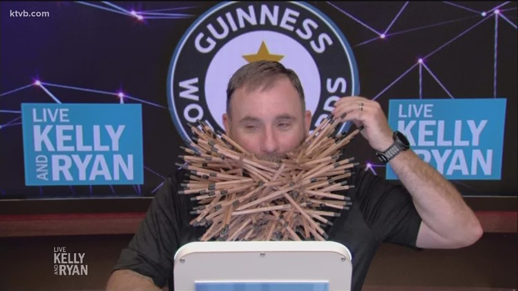 Meridian man beats world record for most pencils in beard on 'LIVE with Kelly and Ryan'