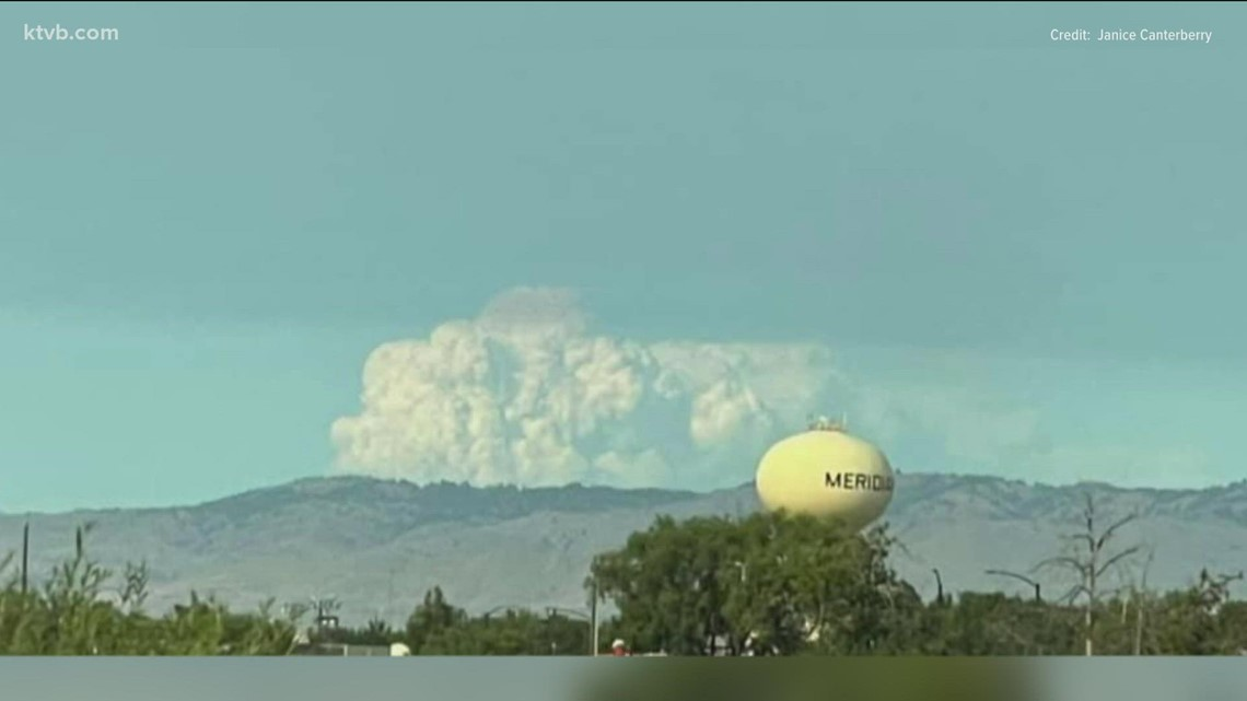Fire burning in central Idaho seen from many miles away