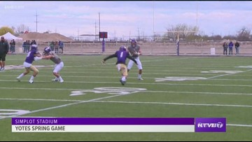 The College of Idaho Yotes starts their spring game with a loaded offense