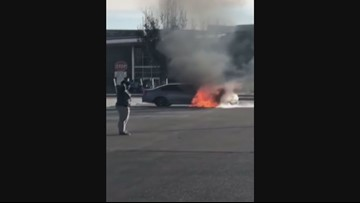 Car catches fire in Mountain View High School parking lot