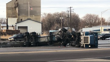 Westbound I-84 in Nampa back open after semi overturns