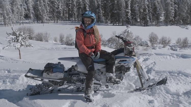 Snowbike rider Sarah Whipple