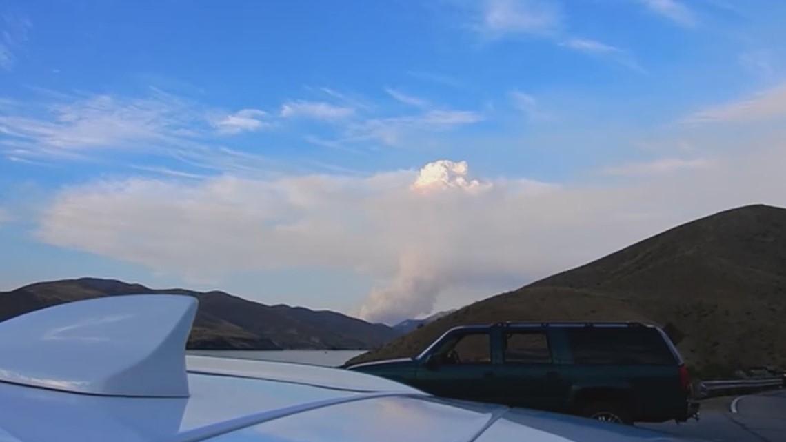 Deer Fire burning near Arrowrock Dam