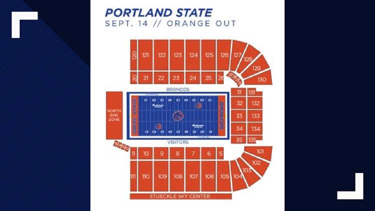 Portland State vs. Boise State seating color scheme