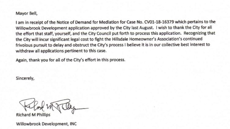 Willowbrook Development sends letter withdrawing project application