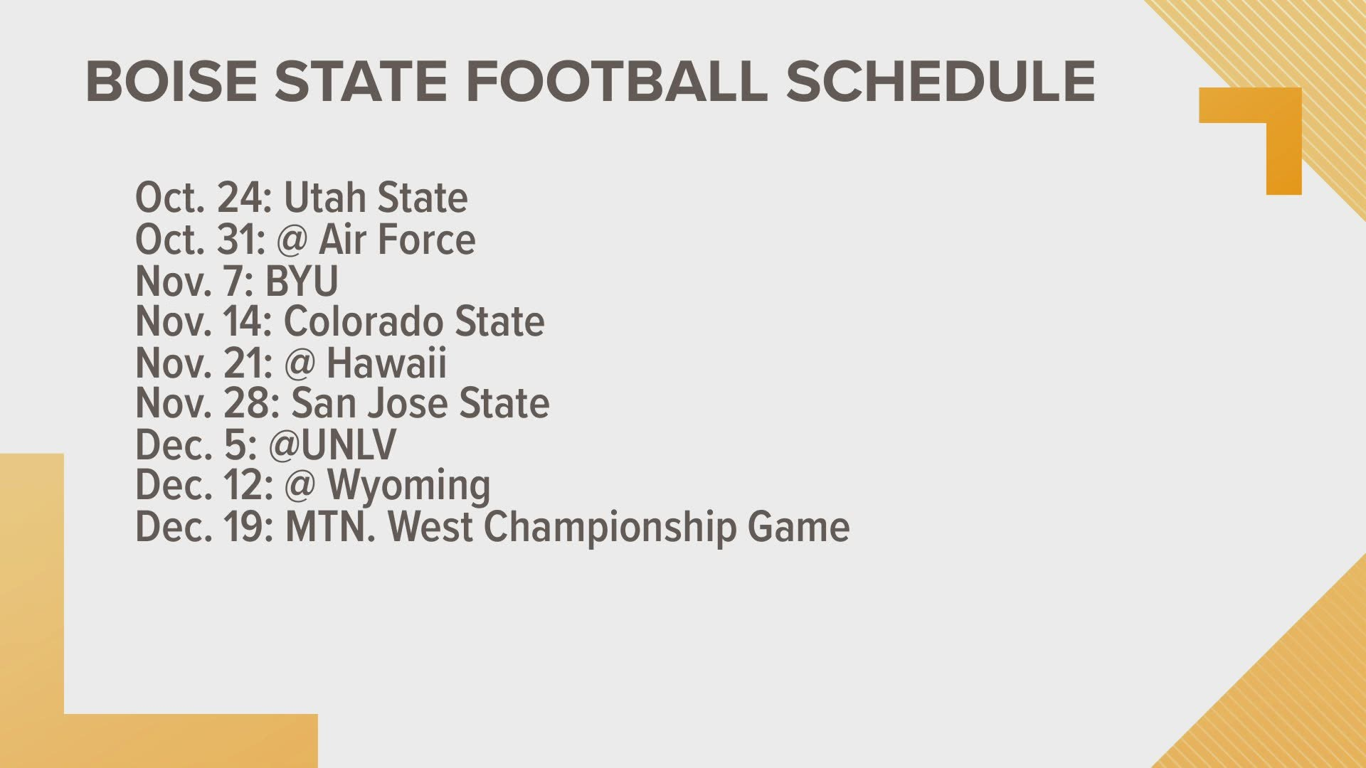 Boise State S 2020 Football Schedule Released With An Early November Game Vs Byu Ktvb Com