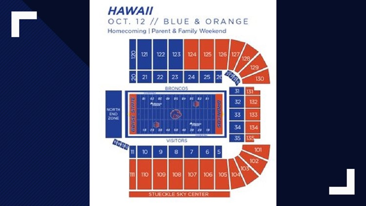 Hawaii vs. Boise State seating color scheme