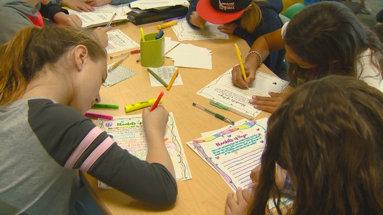 Students at Hillsdale Elementary in Meridian write letters to the homeless for the Blankets of Hope project.