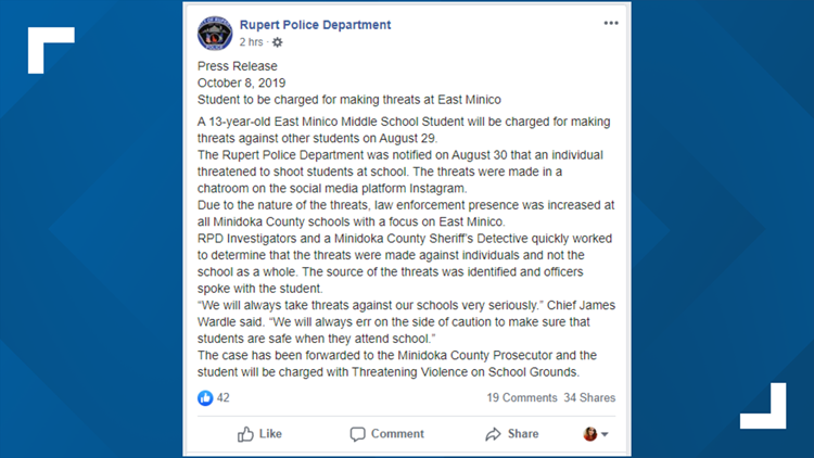 Rupert Police Department Facebook post.