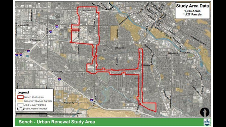 Proposed Central Bench urban renewal district map