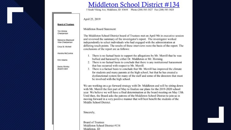 Middleton school district statement involving high school principal investigation