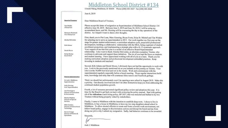 Middleton Superintendent resigns