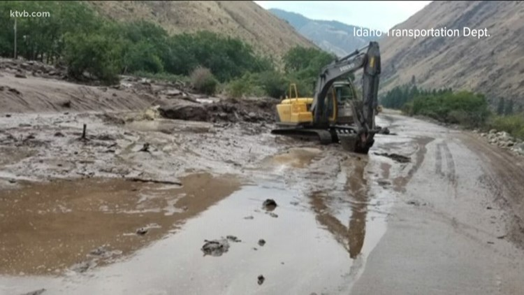 Highway 95 between Grangeville and New Meadows reopens one lane after  closing down due to mudslides