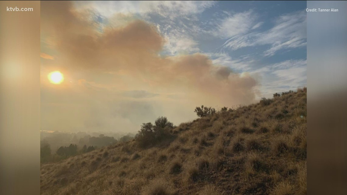 About 30 trucks from fire departments across the Treasure Valley respond to fire in the Boise Foothills