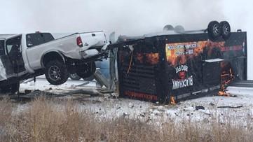 Food truck flips, bursts into flames in Idaho