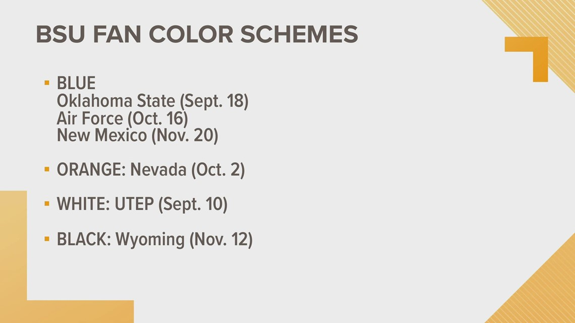 Boise State releases color schemes for Bronco football fans