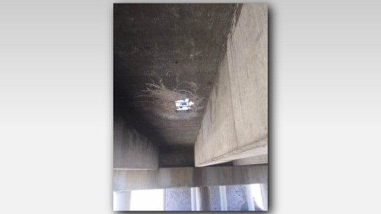 A hole has appeared in a bridge on Interstate 84 east of Boise.