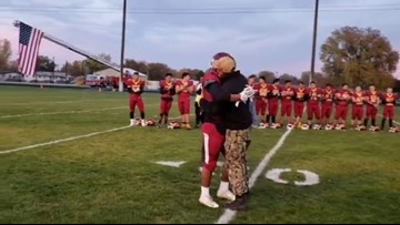 Ontario sailor surprises brother at his last high school football game