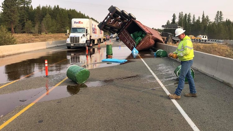 Long stretch of I-84 closed for nine hours after truck crashes on eastern Oregon bridge