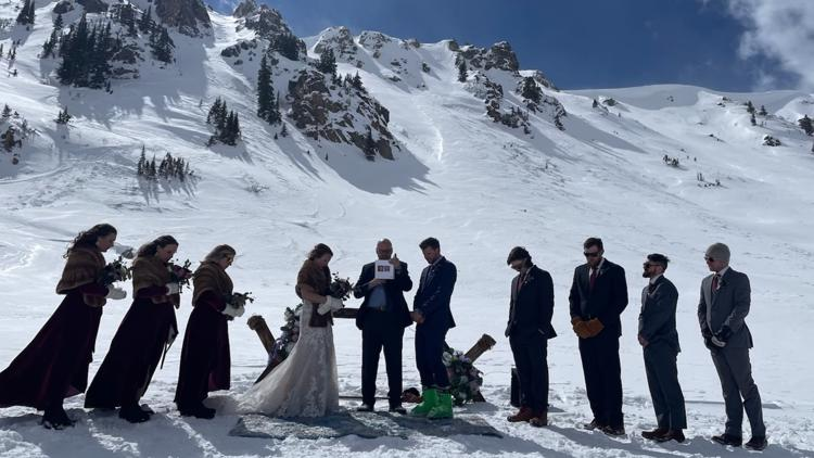 After 'adventurous wedding' near snow-capped peaks, couple surprised by rescue group called in to help