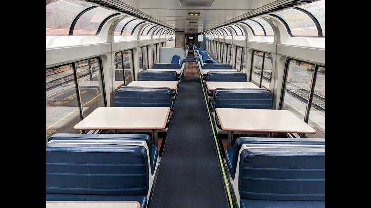The observation car is bright, and a great place to enjoy the views.
