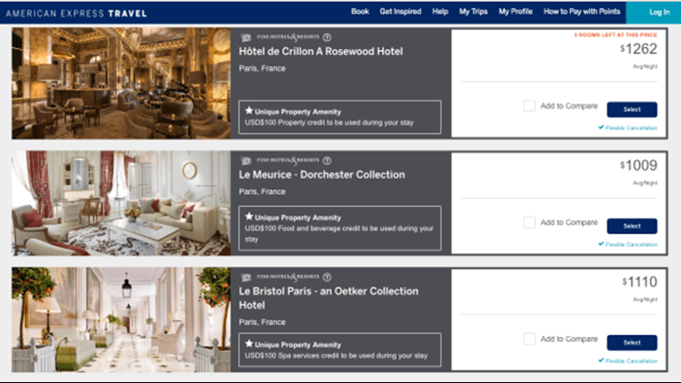"""A look at the """"unique property amenities"""" offered at three Paris hotels via American Express Fine Hotels & Resorts: a $100 property credit, a $100 food and beverage credit and a $100 spa credit."""