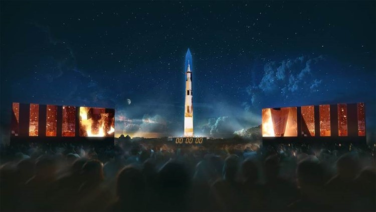 WATCH: National Air and Space Museum projects 363-foot rocket on Washington Monument in honor of Apollo 11 anniversary