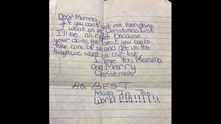 Randisha's letter to her mom the Christmas before she was killed. (Provided)